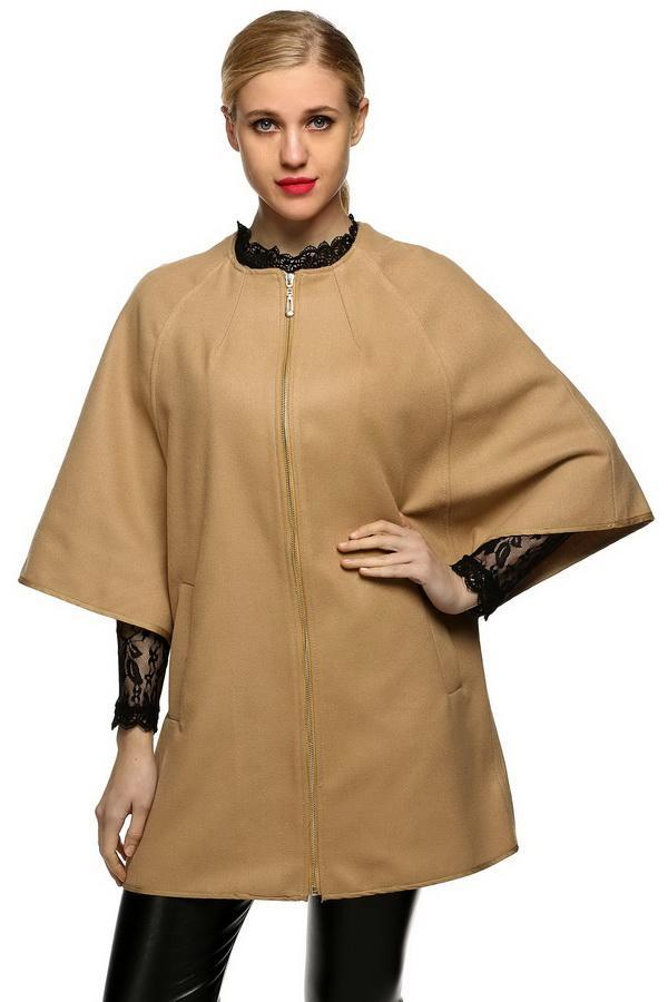 c3571aa17a Solid Finejo Yes Winter Up Neck Blend Sleeve Fashion Zip Women Long Zipper  Batwing 3/4 Coat Casual Fashion Round Wool