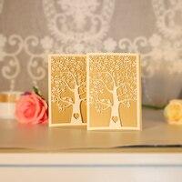 H & D 12 stks Laser Cut Boom Uitnodigende Kaart Papier Party Event Supplies Decoratie Luxe Romantische Huwelijksuitnodiging Gratis envelop