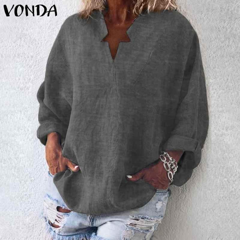 VONDA 6 цветов Женская блузка 2019 Осенняя Повседневная рубашка Винтажная с длинным рукавом v-образные вырезы пляжная OL Blusas Женская туника плюс размер