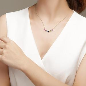 Image 2 - E Multicolor Square CZ Chain Necklace for Women Real 925 Sterling Silver Handmade Fine Jewelry 14K Gold Plated Rainbow Necklaces