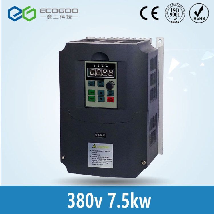 VFD-ecogoo VFD Inverter Frequency converter 7.5kw 10HP 3 PHASE 380V 400HZ General vector type vfd075e23a delta vfd e series vfd inverter frequency converter 7 5kw 10hp 3 phase 220v 600hz for drilling woodworking machine