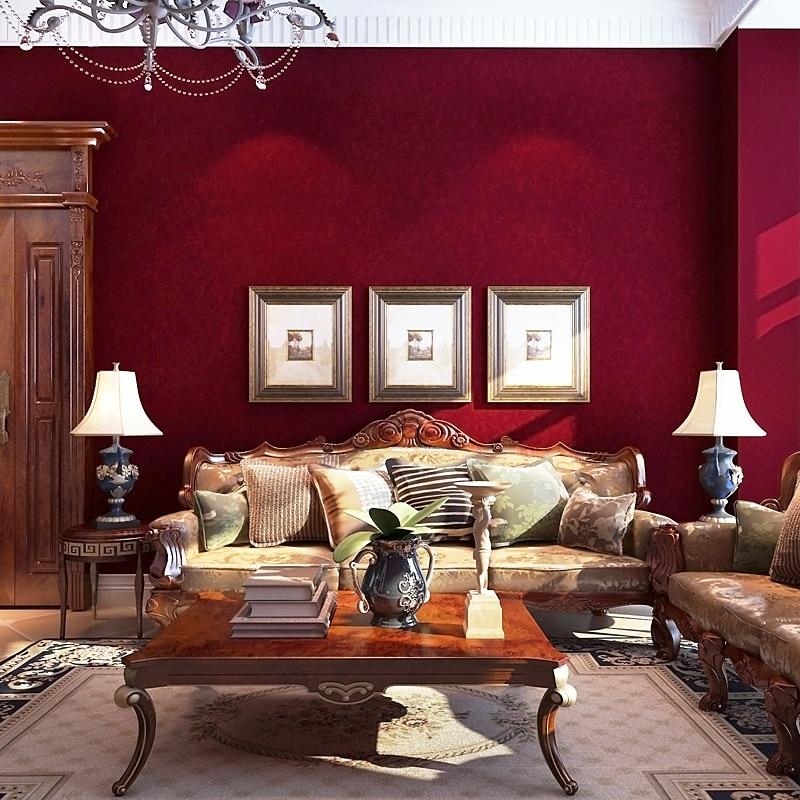 0.53x10m Retro American Village Style Dark Red Wallpaper Wedding Room Bedroom Living Room ...