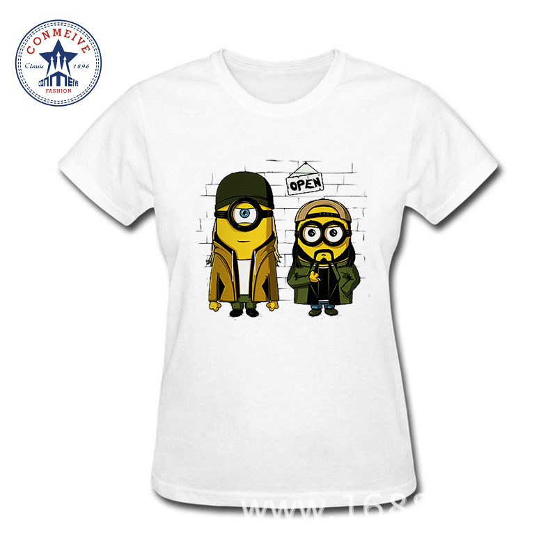 2017 Natural Cotton Anime Minions Funny funny t shirt women