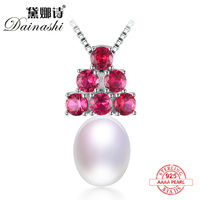 Dainashi Classic Luxury 925 Sterling Silver 100 Real Natural Pearls With Garnet Include Chain By Exquisite