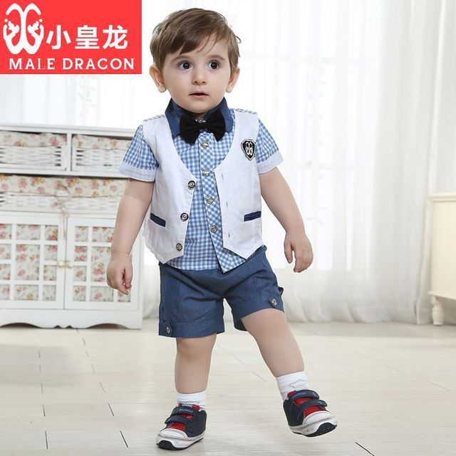 a0835a35 New 2015 Summer style baby boy clothes new summer design fashion newborn  baby clothes blue shirt+tie boy short sleeves suit