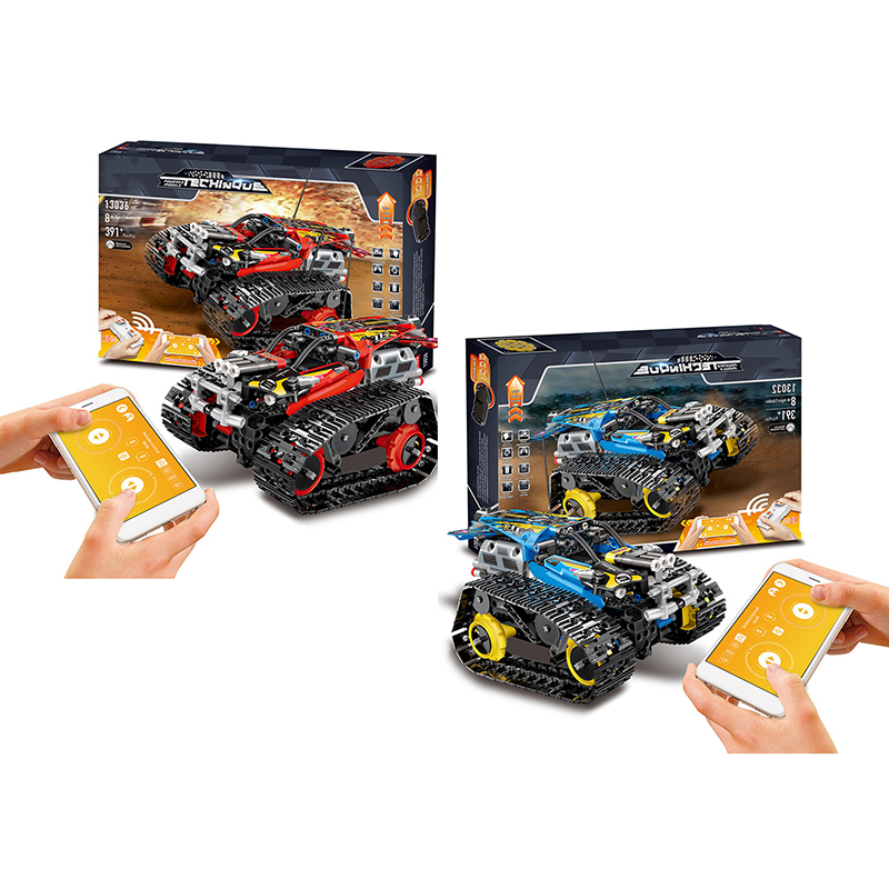 App Interactive Toy Car Programming Toys Engineer Granular Building Blocks Tracked Control Off-road Vehicle Gift For Kid 2