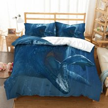 Seaworld Blue Bedding Set Shark Comforter Set Animals Print Bed Linen Set Queen King Double Custom Microfiber Duvet Cover Set(China)
