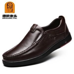 Image 2 - 2020 حديثا الرجال أحذية من الجلد الحقيقي حجم 38 47 رئيس الجلود لينة المضادة للانزلاق أحذية قيادة رجل الربيع أحذية من الجلد
