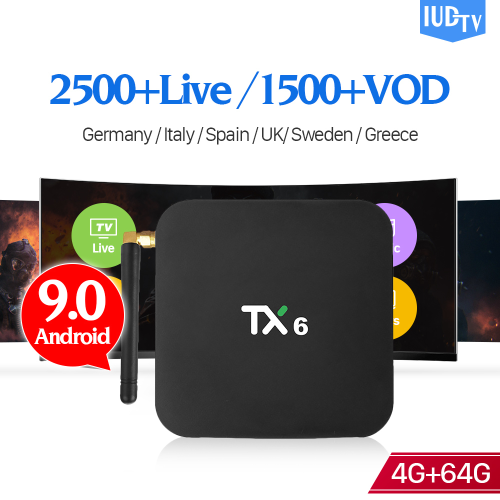 TX6 1 Year IPTV Android 9.0 Box IUDTV Sweden Spain 4+64G BT5.0 USB3.0 Dual-Band WIFI Full HD IP TV 1 Year Italy German Receiver