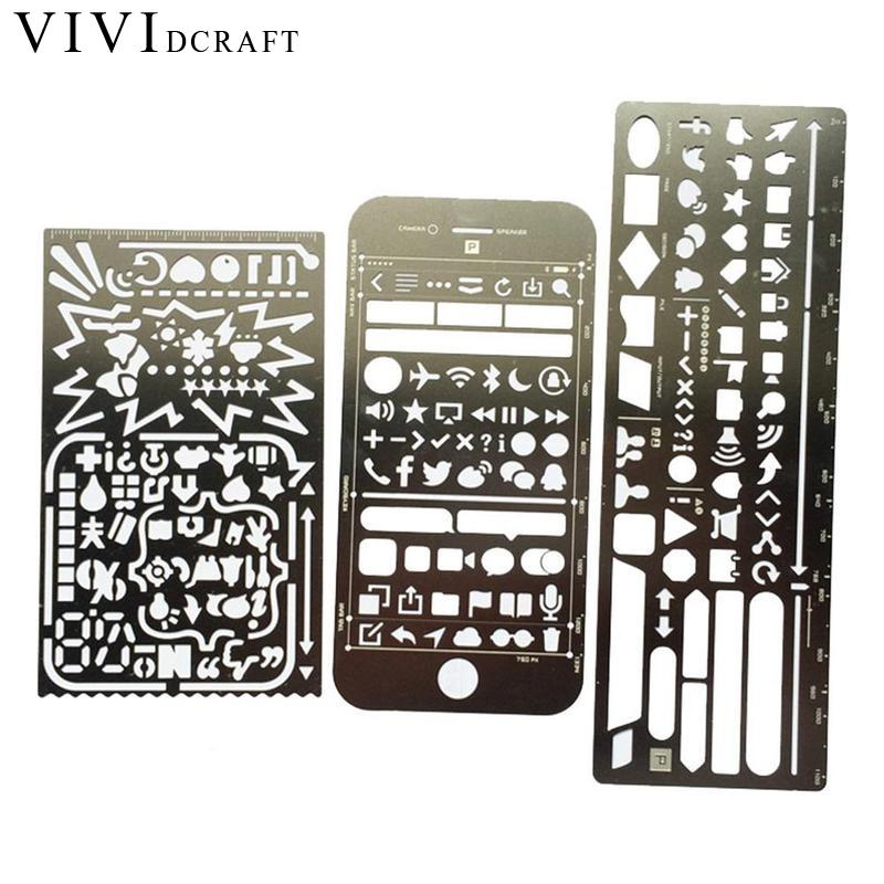 Vividcraft Vintage Portable Stainless Steel Stencils Hollow Ruler Planner Travel Diary Notebook Diy Tool Filofax Template Gift