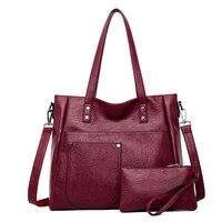 Luxury Brand Women Soft Leather Shoulder Bag Female Fashion Big Pocket Handbags Ladies Sac Casual Tote Crossbody Bag with Purse