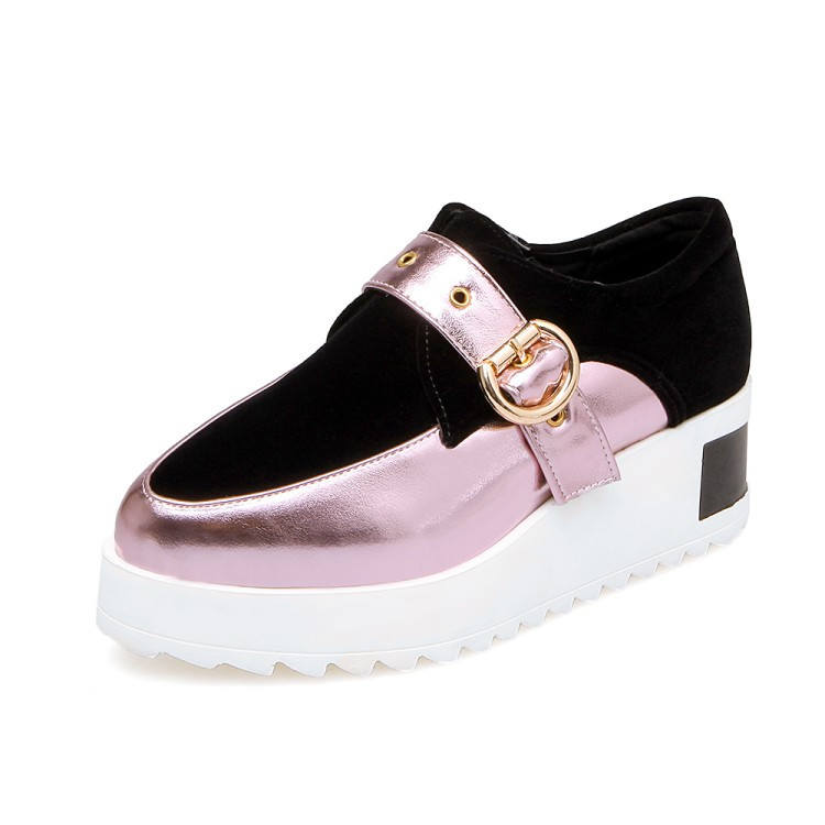 Plate Chaussures Bout Casual forme Loisirs 34 43 Rond Or Creepers Sneakers Sangle Hot rose argent Confort Pxelena Plat Femmes Boucle OkZiuXP