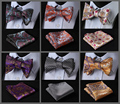 Floral Classic 100%Silk Jacquard Woven Men Butterfly Bow Tie BowTie Pocket Square Handkerchief Suit Set