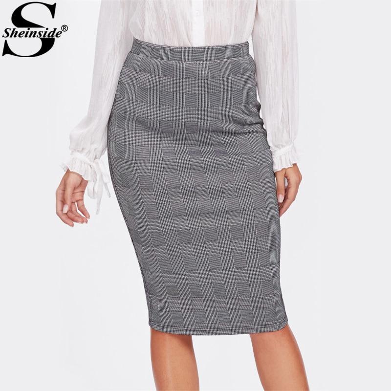 Sheinside Vented Back High Waist Plaid Pencil Skirt Grey Knee Length Split Elegant Skirt Women Work Sheath Autumn Skirt