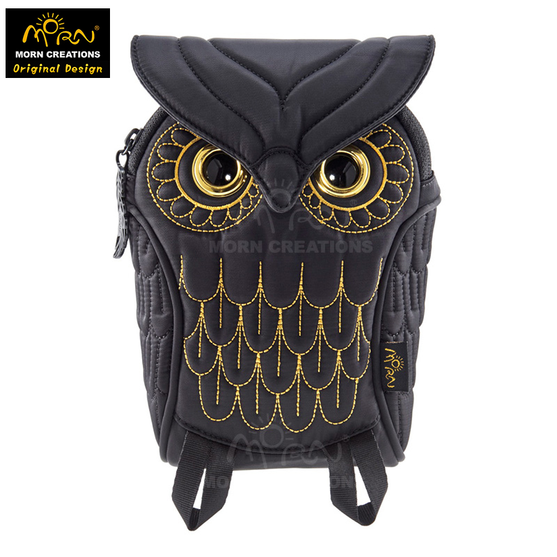 Morn Creations Original Design The Owl Style Golden Embroidery Typical Owl Pouch Owl Camera Bag OW-384 aftermarket free shipping motorcycle accessories blue led see through engine clutch cover for suzuki gsx1300r hayabusa b king