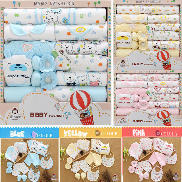 Banjvall Hot Sales 0-6M 18PCS/Set Baby 100% Cotton Clothing Sets Newborn Gifts Infant Boys Girls Cute Clothes / Free Shipping