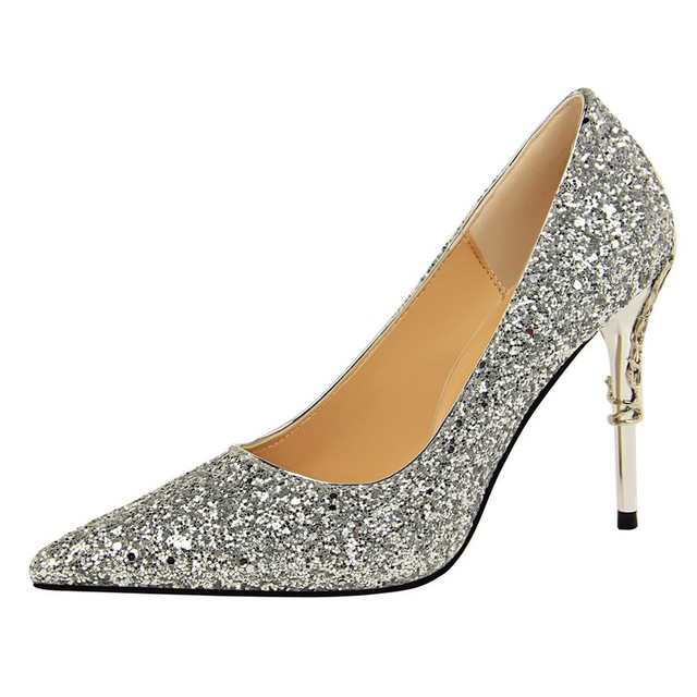 2019 Sexy Bling Glitter Shoes Woman Pumps Black Gold Silver High Heels Shoes Woman Ladies Wedding Party Shoes G0040