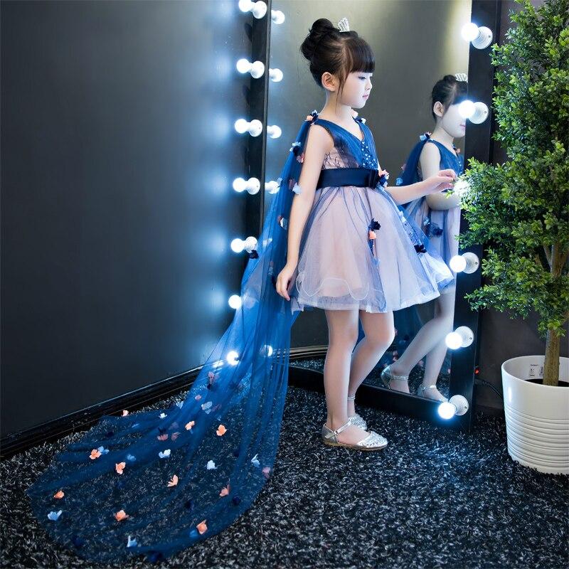 V-cou mini robe longue queue robes de mariée costumes de scène pour enfant bleu cadeau d'anniversaire princesse robe courte robes de bal pour enfant en bas âge
