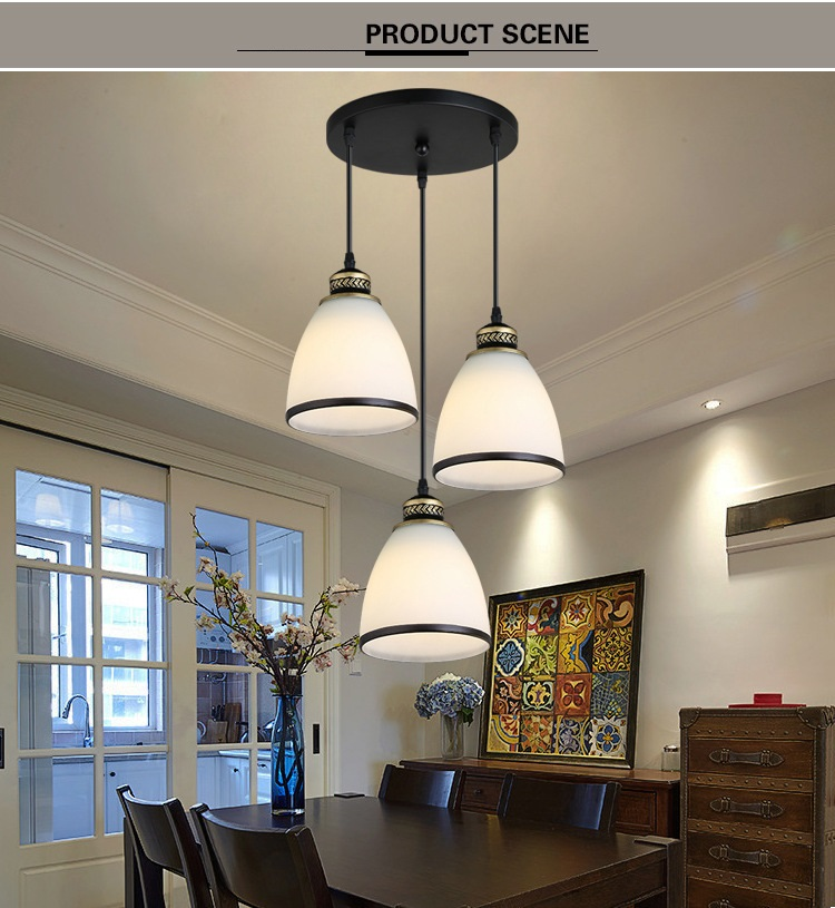 Modern Minimalist Set of 3 Kitchen Island Dining Room Glass Pendant Light (5)