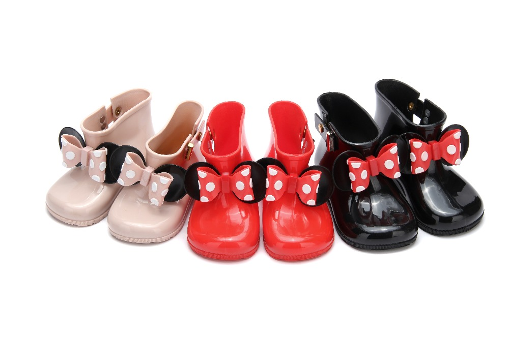 Baby shoes Girls Boys Kids Children Baby Bowknot Dot Rubber black Waterproof Student Boots Anti slip Rain Shoes for girl boy Boots     - title=