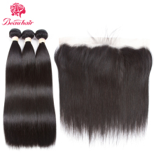 Beau Hair Ear To Ear Lace Frontal Closure Med 3 Bundles Brazilian Straight Menneskehår Weaves With Closures Non Remy 4 stk / lot