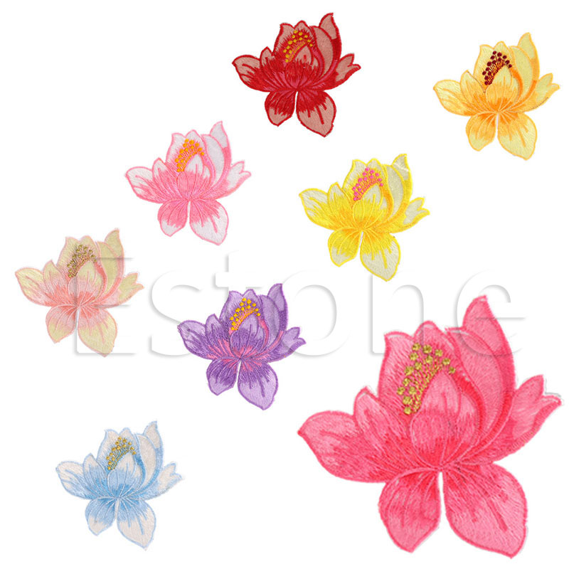 E74 1 pc lotus flower sew oniron on embroidered patch applique e74 1 pc lotus flower sew oniron on embroidered patch applique motif garment decor craft nice gifts for your clothes and bags in patches from home garden mightylinksfo