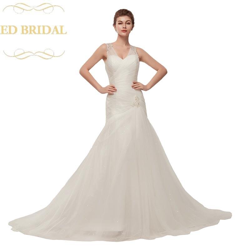 V Neck Beaded Wedding Gowns: Trumpet V Neck Beaded Tulle Wedding Dress Women Bridal