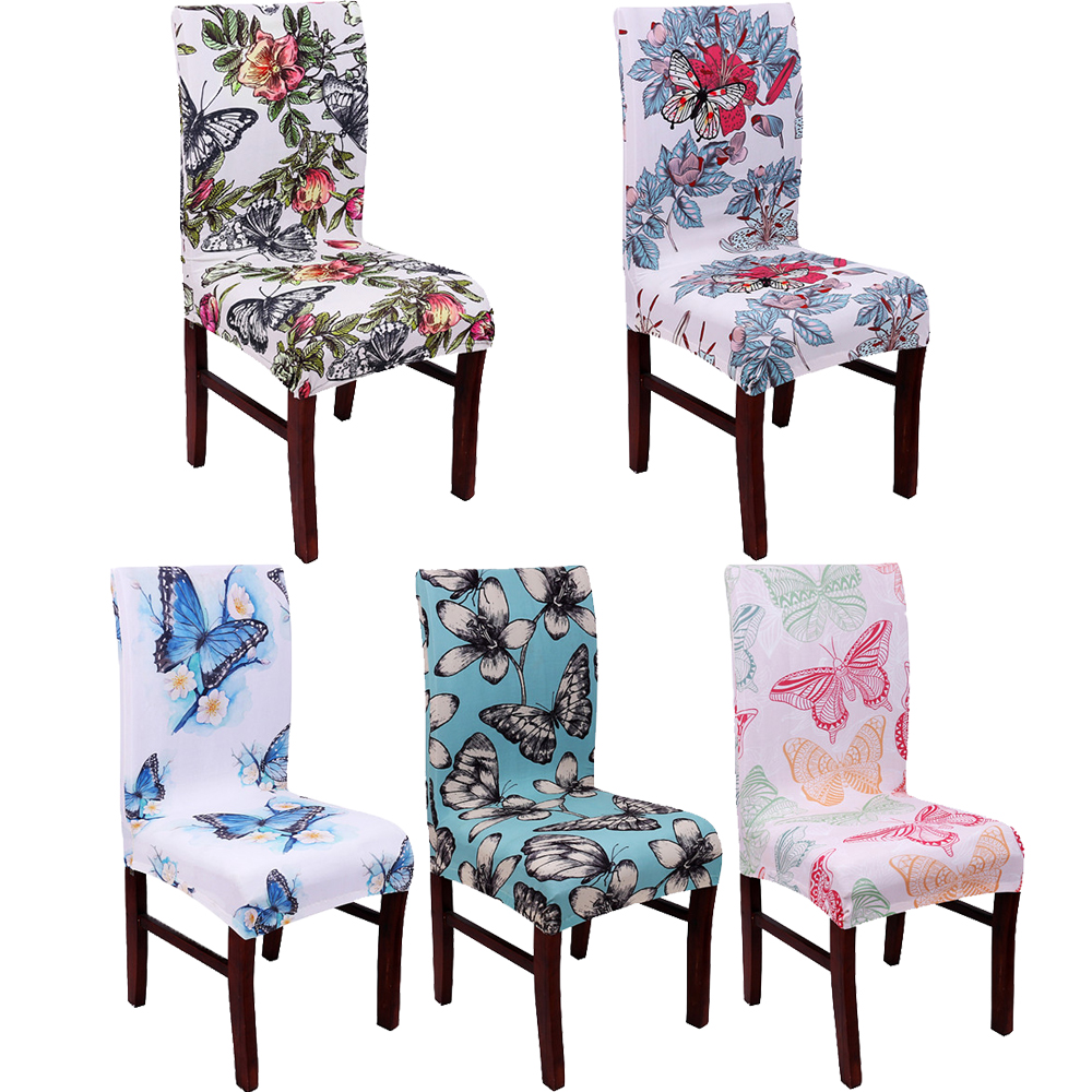 Spandex Elastic Butterfly Flowers Printing Chair Covers