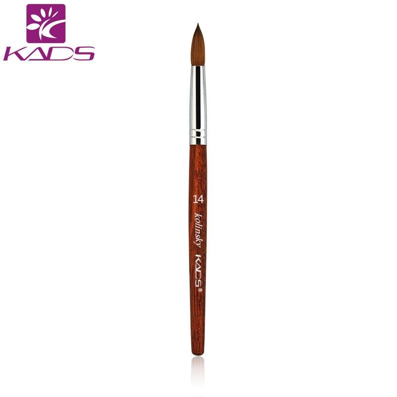 5 pcs/lot taille 14 # 100% Kolinsky Sable stylo rouge bois acrylique brosse pour acrylique Nail Art brosse pour Kolinsky poly Gel brosse