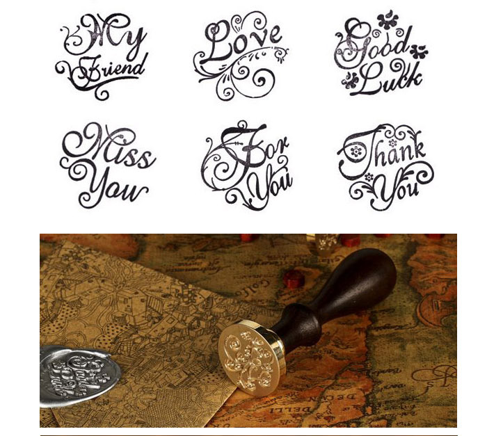 Six patterns Love My friend Thank you custom wax sealing stamp for wedding party Invitation Retro antique stamp i love you my sunny блокнот