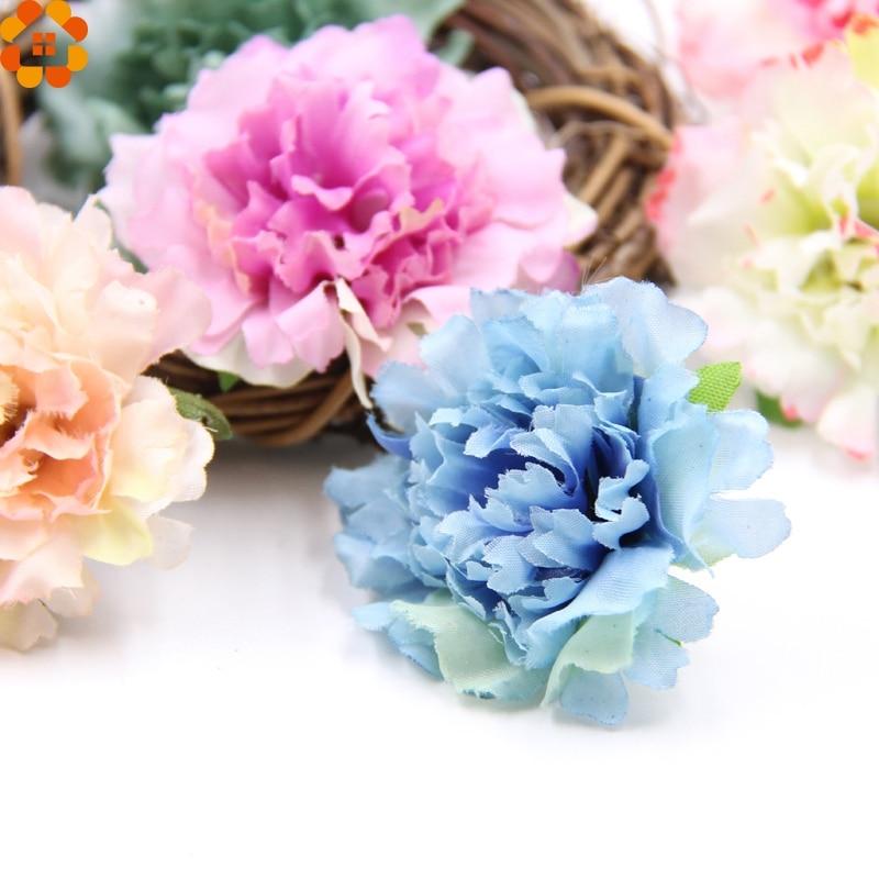 30 шт. декоративные цветы искусственного шелка Цветы Гвоздика Цветок Heads для дома сад/Свадебная вечеринка украшения