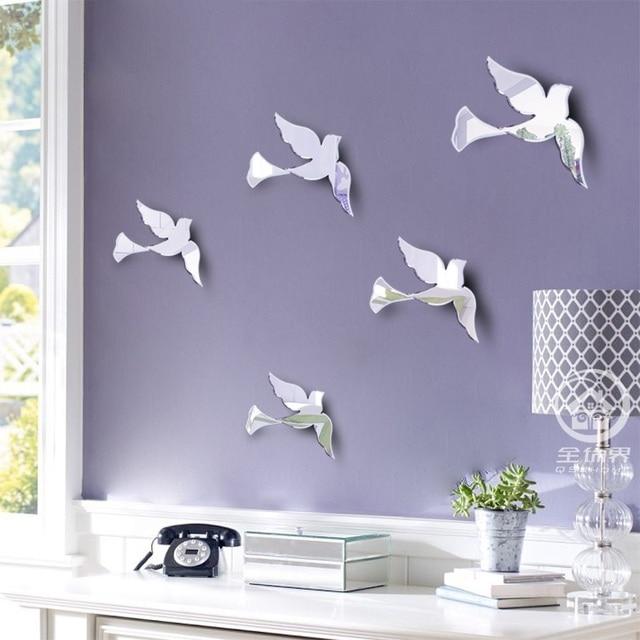 Wall Art Mirror Birds : Aliexpress buy glass mirrored birds wall decoration