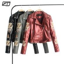 Fitaylor Fashion Embroidery Pu Biker Leather Coat Women Slim Short Motorcycle Faux Leather Jacket Female Autumn Moto Jacket