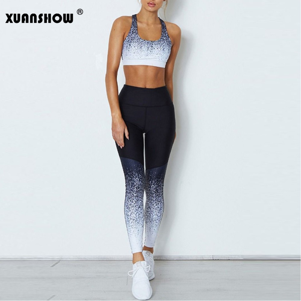 XUANSHOW New Female Sets 2018 Fashion Crop Top Vests And Leggings Trousers 2 Piece Set Women's Tracksuits