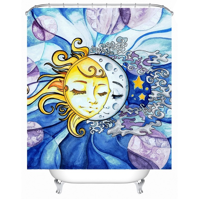 Shower Curtain Sun And Moon Printed Waterproof Polyester Bath Bathroom Accessories 180x180cm Curtains Home Decoration