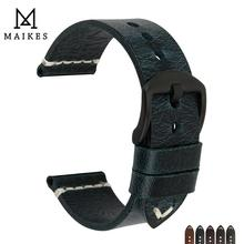 MAIKES Simple Genuine Leather Watch Strap Changeable Color Watch Accessories 20mm 22mm 24mm Watch band Watchbands for Panerai цена 2017