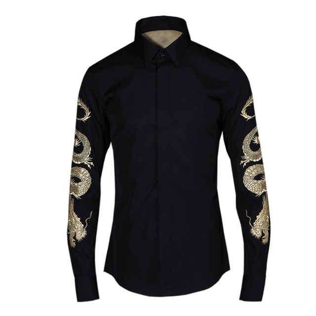 Personality All Match Long Sleeve Embroidery Solid Korean Men Shirts Cotton  White XFE102120
