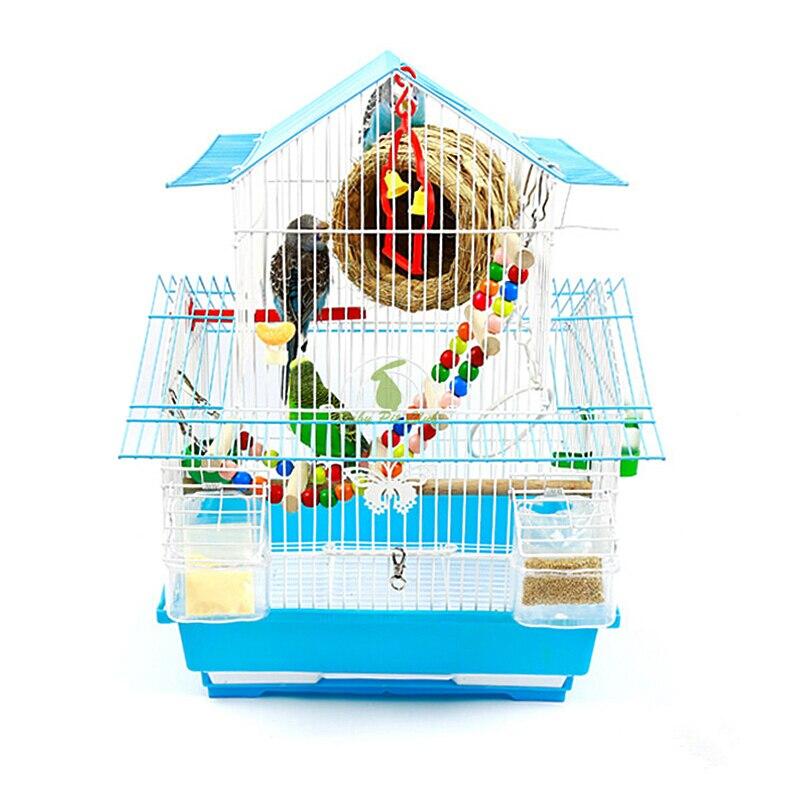 Décoration pour animaux de compagnie Villa Cage à oiseaux pivoine peau de tigre perroquet Cage en métal détachable facile à nettoyer Durable bien fait grande Villa Cage