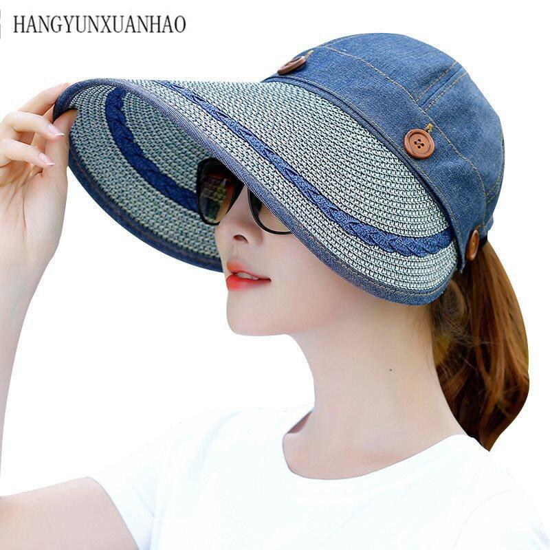Sun Hat Ladies Wide Brim Straw Women Large Floppy Summer Beach A Button Cap Hats For