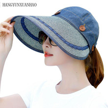 Sun Hat Ladies Wide Brim Straw Women Large Floppy Summer Beach A Button Cap Hats For