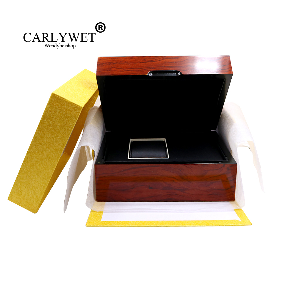 цена на CARLYWET High Quality Fashion Luxury Mixed Material Watch Box Jewelry Storage Case Gift With Pillow For Rolex IWC Omega Seiko