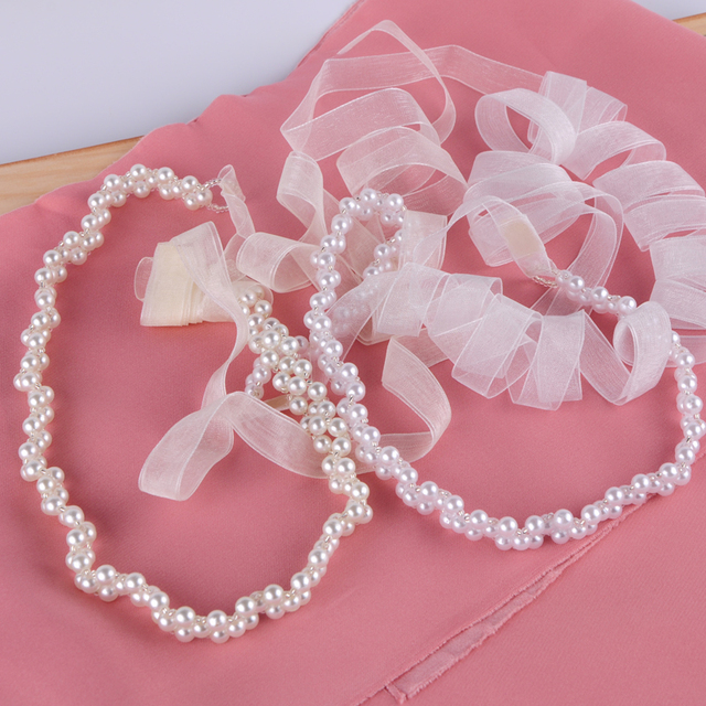 TOPQUEEN Ivory Handmade Women's S34 Pearls Wedding Evening Party Gown Dresses Accessories Bridal Bride Bridesmaid Belts Sashes