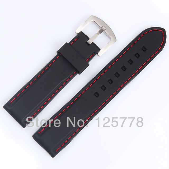 a07f60322e5 22mm BLACK Silicone Rubber Watch band Red line Stitched Diving Sport  Waterproof soft Strap SS Buckle F1 Racing Bracelet Free