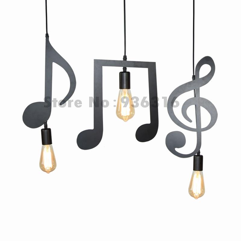 Blueking E27 Creative Black Led Pendant Lamp Music Note Iron Hanging Bar Restaurant clothing store lustres Pendant Light Lampen black note