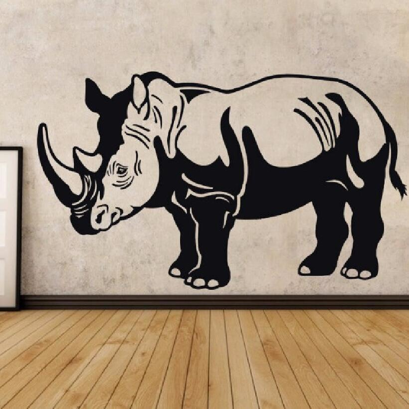 YOYOYU Wall Sticker Afican Pried Animal PVC Rhino Home Decoration Zoo Decor Removeable Sticker Poster Mural J992 in Wall Stickers from Home Garden