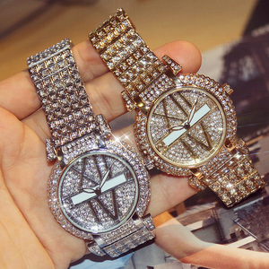 Image 2 - 2019 Luxury Diamond Women Watches Fashion Stainless Steel Bracelet Wrist Watch Women Design Quartz Watch Clock relogio feminino