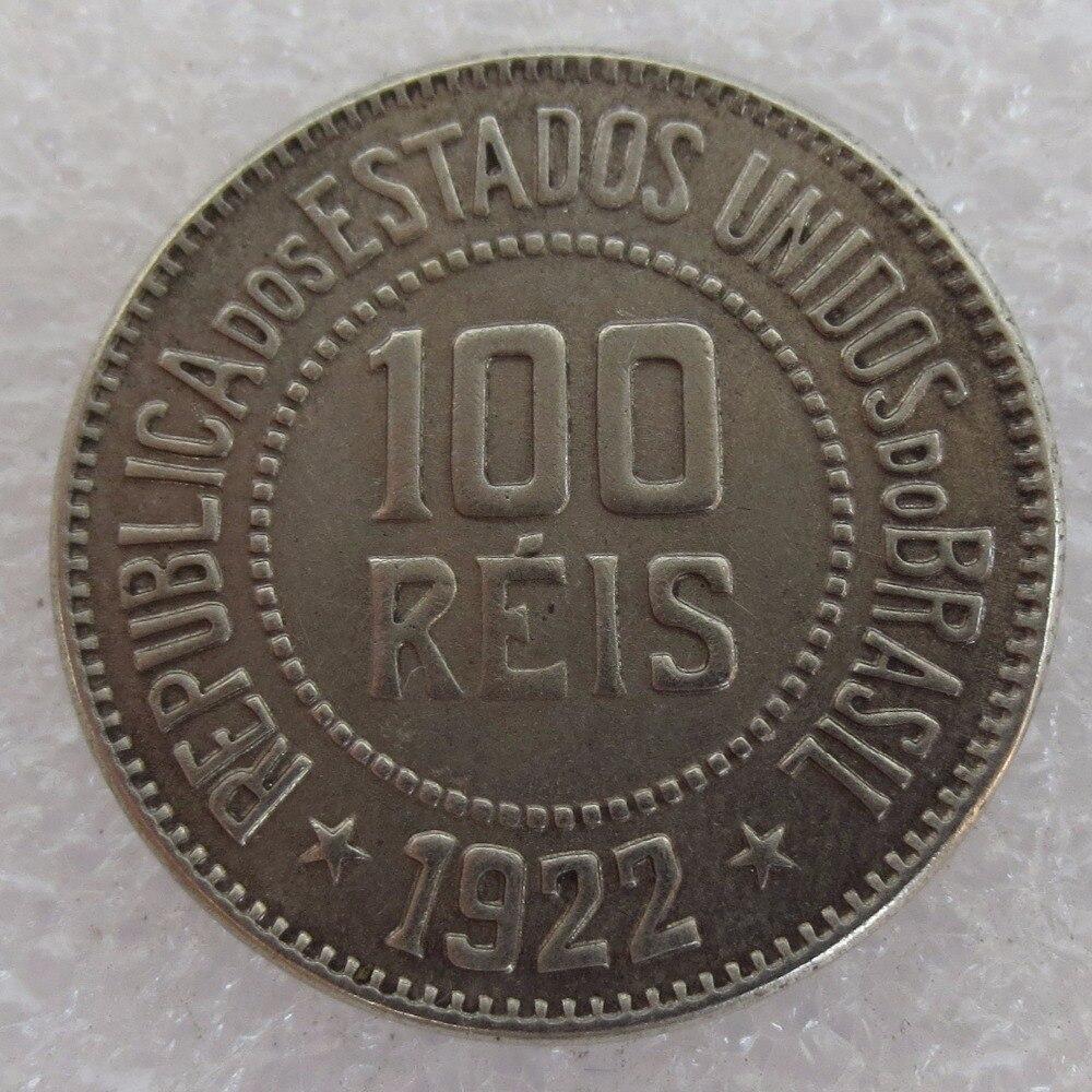 Хорошее Качество Бразилия 100 REIS 1922 Медь и никелевого сплава монеты КОПИЯ монета высокое качество