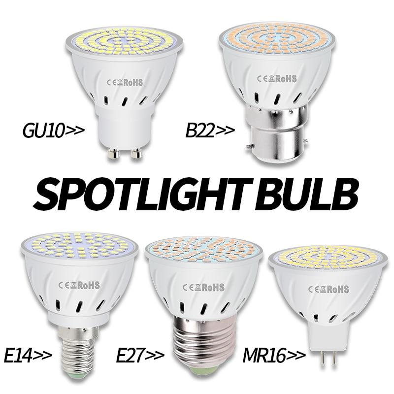 E27 Led Lamp E14 Spotlight Bulb GU10 220V Foco Led MR16 Bulb Corn Lamp 2835SMD B22 Lampada 48 60 80leds Home Spot Lighting GU5 3 in LED Bulbs Tubes from Lights Lighting