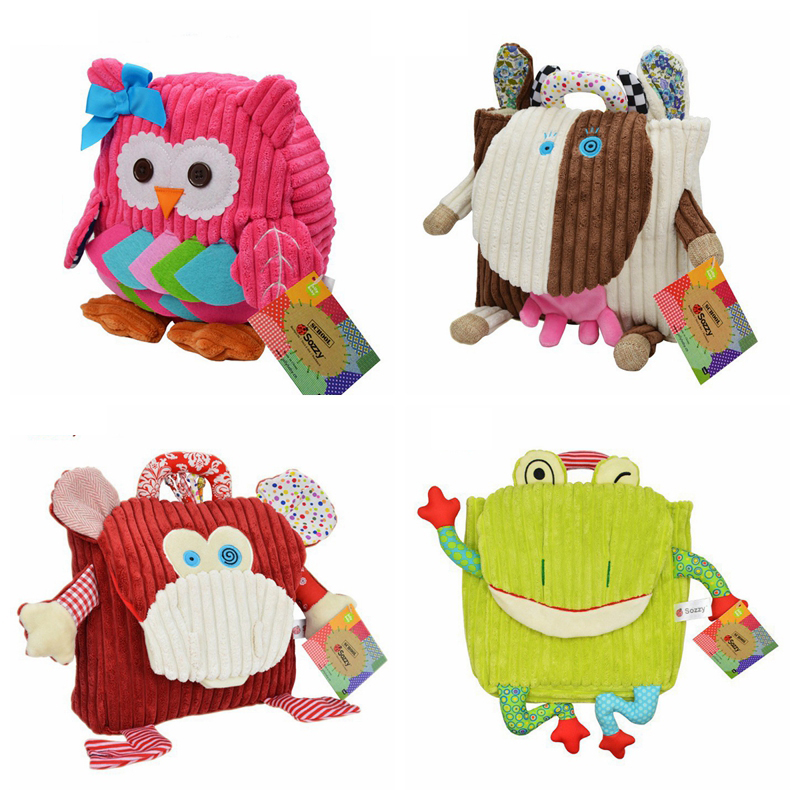 50pcs/lot New Cute Kid Plush School Backpacks Animal Figure Bag 5 Pattern Kid Girls Boys Gifts Toy Owl Cow Frog Monkey schoolbag