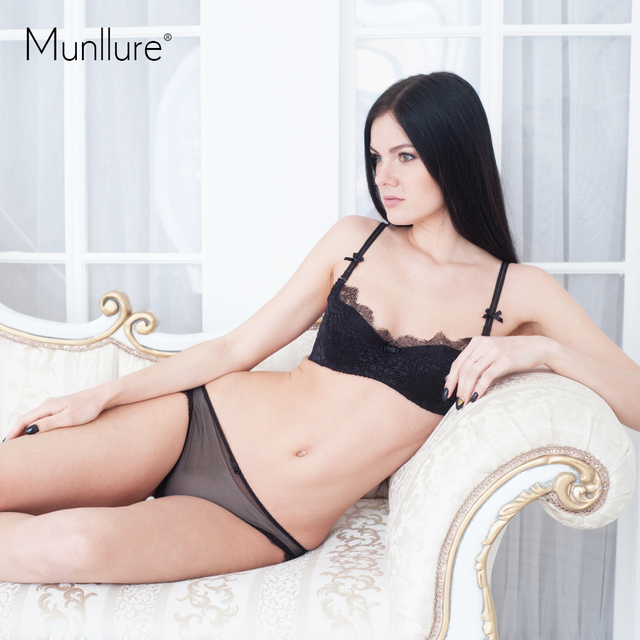 Munllure 2017 Soild Embroidered lavender Lace Women Bra and Panty Set Convertible Straps Lingerie Set Lounge Underwear for Girl